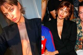 Il nuovo look di Irina Shayk: capelli corti e frangetta alle sfilate milanesi
