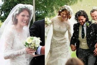 """Corona di fiori e abito di pizzo: il look da sposa di Rose Leslie di """"Il Trono di Spade"""""""