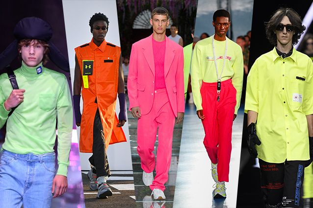 da sinistra Prada, Palm Angels, Versace, MSGM, Marcelo Burlon County of Milan