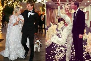 Kaley Cuoco sposa in pantaloni: i due abiti in pizzo per il matrimonio con Karl Cook