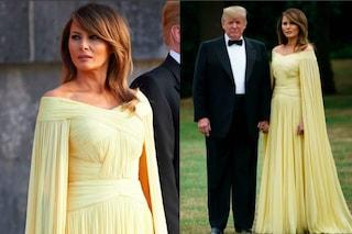Melania Trump come una principessa a Londra: l'abito è un omaggio alla regina Elisabetta