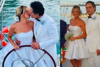 Francesca Barra sposa Claudio Santamaria: abito bianco corto per le seconde nozze