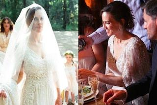 Hilary Swank sposa Philipp Schneider: due abiti bianchi e un velo lungo 6 metri
