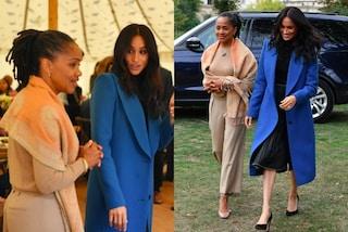 Meghan Markle con il cappotto blu, Doria in beige: mamma e figlia sono regine di stile