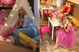 Mia compie 7 anni: party con tende da campo in salotto per la figlia della Marcuzzi