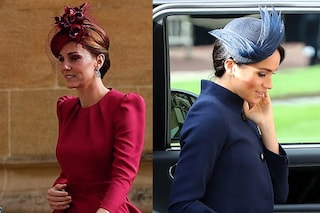 Meghan Markle in blu, Kate Middleton in fucsia: le principesse al matrimonio di Eugenie