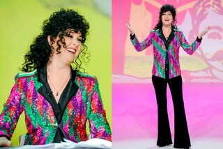 Nadia Toffa in versione riccia a Le Iene: giacca di paillettes colorate e parrucca nera