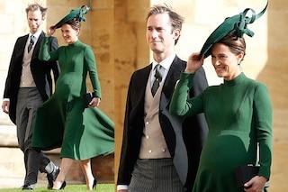 Pippa Middleton incinta alle nozze di Eugenie: tacchi alti e pancione in mostra