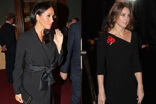 Kate Middleton e Meghan Markle (con il pancino) in nero: è sfida di stile tra principesse
