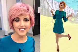 Nadia Toffa passa al rosa: a Le Iene con la nuova parrucca e i tacchi a spillo