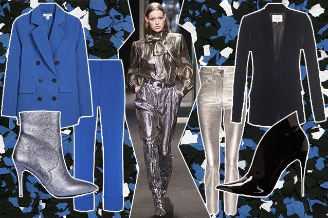 tailleur Primark, stivaletti Unisa, look Alberta Ferretti, giacca nera e jeans gold Frame, scarpe in vernice Aldo