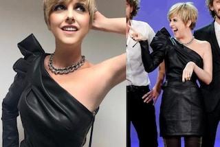 Nadia Toffa in versione rock: a Le Iene con abito di pelle e catena al collo