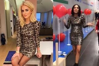 """Caterina Balivo """"imita"""" Chiara Ferragni e indossa il suo stesso abito animalier"""