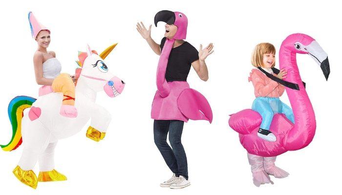 costumi di carnevale unicorno e fenicottero