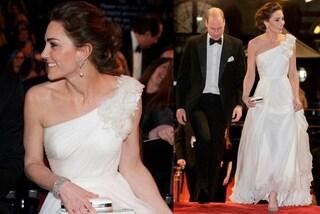 Kate Middleton in bianco come una dea ai BAFTA 2019:il look è un omaggio a Lady Diana
