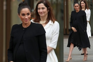Meghan Markle come Kate Middleton: in total black col pancione ma il cappotto è riciclato