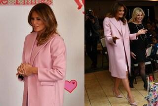 Melania Trump per la prima volta in rosa: il look pastello per San Valentino