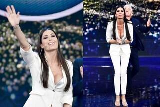 Elisabetta Gregoraci in bianco a Made in Sud: per la terza puntata la scollatura è esplosiva