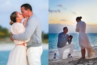 Jennifer Lopez in bianco (e con le infradito) per la romantica proposta di matrimonio