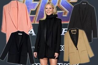 Gwyneth Paltrow alla prima di Avengers Endgame, la giacca maschile diventa un abito