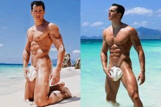 Pietro Boselli nudo coperto solo da una conchiglia: gli scatti hot infiammano i social