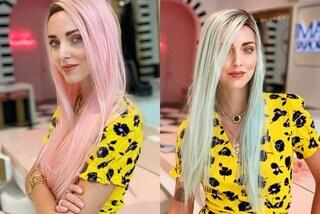 Chiara Ferragni irriconoscibile: cambia look e passa ai capelli prima rosa, poi azzurri