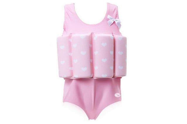 Costume da bagno bambina con galleggiante incorporato, fantasia a cuori e fiocco decorativo, a partire da 22,99€ su Amazon