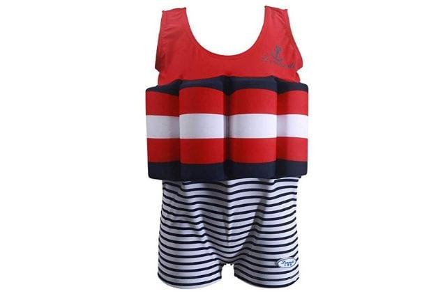 Costume da bagno per bambini piccoli con galleggiante incorporato, stile marinaio, a partire da 22,99€ su Amazon