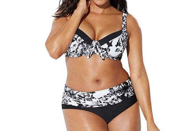 Bikini Rawdah bicolore con texture e reggiseno con dettaglio fiocco