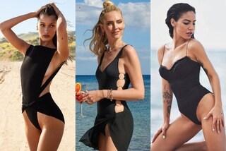 Tutte in nero al mare, dalla Hadid alla Ferragni: il costume dark è il più trendy dell'estate 2019