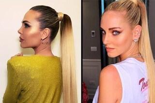 Ilary Blasi e Chiara Ferragni come gemelle: la maxi coda è l'acconciatura più trendy del momento