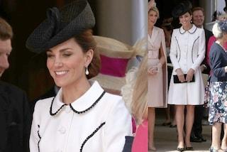 Kate Middleton sfida le principesse europee, è regina di stile in bianco e con il cappellino