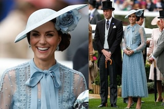 Kate Middleton al Royal Ascot incanta con trasparenze e colori pastello