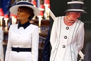 Melania Trump con il cappello per la visita a Londra: così la First Lady rende omaggio a Lady Diana