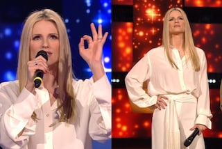 Michelle Hunziker in bianco a All Together Now: camicia e pantaloni over per la quarta puntata