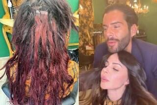 Nina Moric con i capelli rovinati: le foto prima e dopo l'aggiunta delle extension