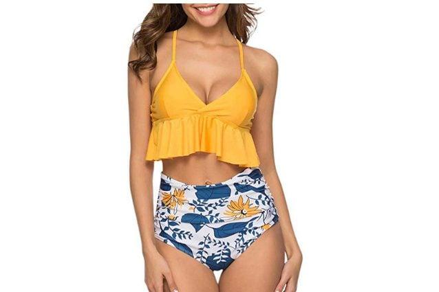 Bikini ITISME bicolor con balza e slip a vita alta, a partire da 5,99€ su Amazon
