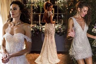 Il matrimonio di Paola Turani: tre abiti per la sposa, dal vestito corto a quello a sirena