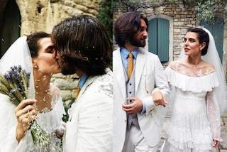 Charlotte Casiraghi, nozze religiose con Dimitri Rassam: abito da sposa a balze e bouquet di spighe