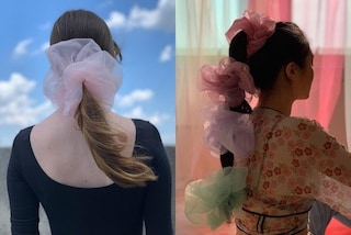 """Sono elastici ma sembrano """"nuvole"""": gli scrunchie più trendy dell'estate 2019 sono enormi e in tulle"""