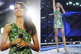 Elisabetta Gregoraci in verde a Battiti Live: look con minigonna e monospalla per la seconda puntata