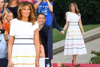 Melania Trump, un arcobaleno sull'abito per il 4 luglio: una provocazione a pochi giorni dal Pride?