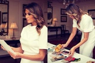 Melania Trump si prepara già per il Natale: sceglie gli addobbi per la Casa Bianca in total white