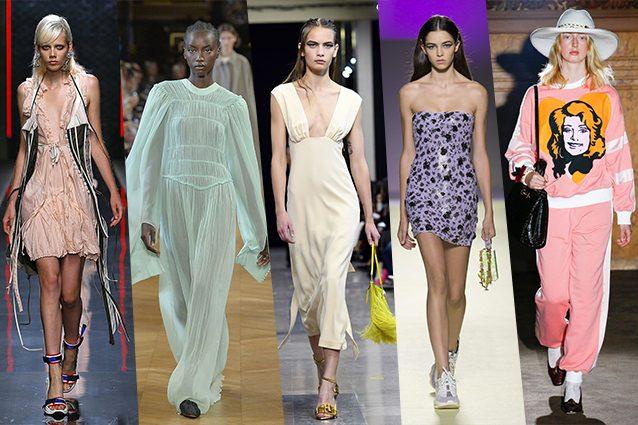 da sinistra Dsquared2, Stella McCartney, Rochas, Versace, Gucci