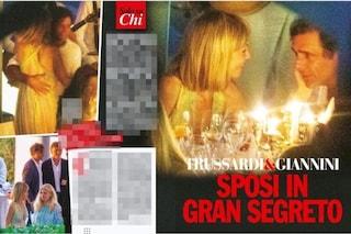 Gaia Trussardi: abito da sposa in pizzo colorato per il matrimonio con Adriano Giannini