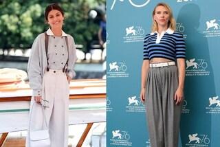 """Da Scarlett Johansson alla Mastronardi, i pantaloni larghi """"da maschiaccio"""" sono must-have a Venezia"""