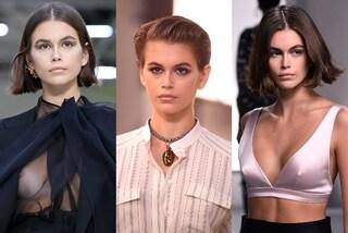 Kaia Gerber è la star delle sfilate di Parigi: nuovo tatuaggio, capelli corti e sexy trasparenze
