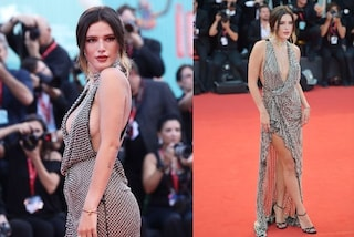 Bella Thorne a Venezia con scollatura hot e spacco: infiamma il red carpet con il sexy look