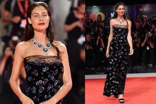 Marica Pellegrinelli a Venezia 2019, incanta in nero e con la collana di diamanti