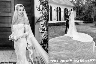 Hailey Baldwin svela il terzo abito da sposa, sul velo c'è la dedica d'amore eterno per Justin Bieber